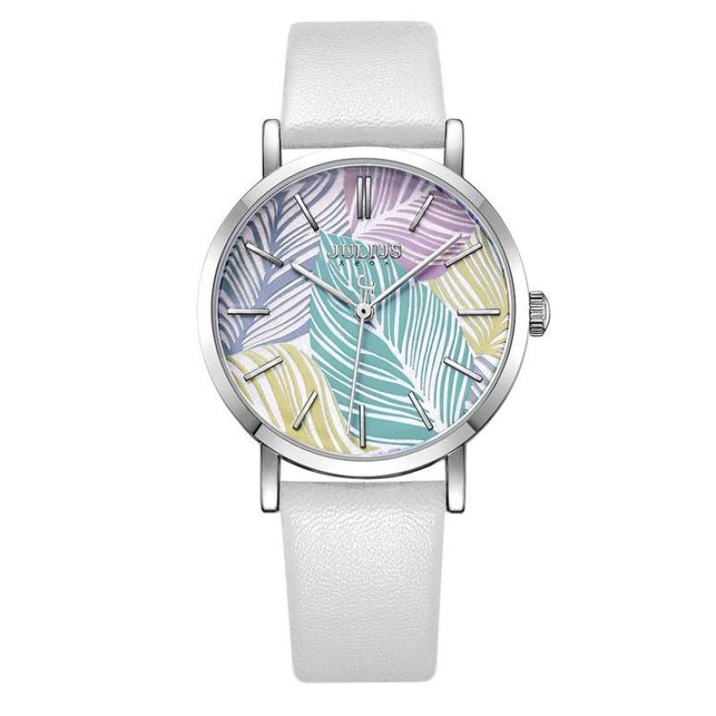 Đồng hồ nữ Julius JA-1090 dây da mặt in hình gân lá