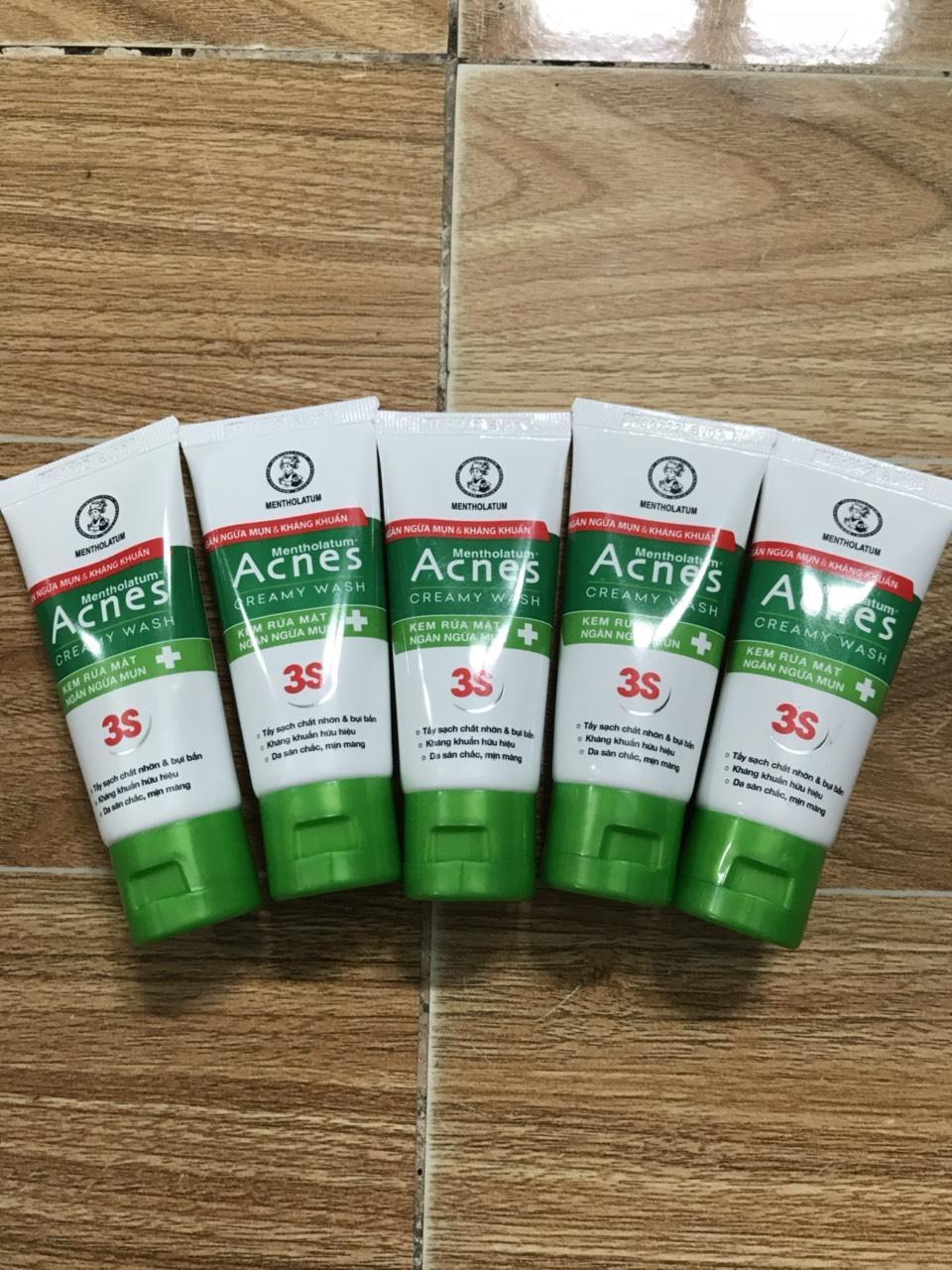 Combo 5 tuýp kem rửa mặt Acnes ngăn ngừa mụn 25g tặng túi đựng mỹ phẩm ngẫu nhiên chính hãng