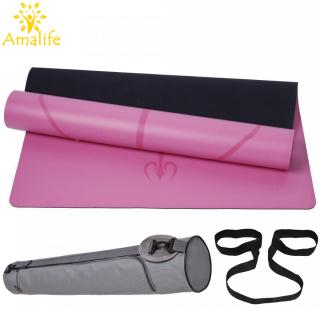 Thảm Tập Yoga Da PU, Thảm Yoga, Thảm Tập Gym Định Tuyến Da PU Cao Cấp + Túi Đựng Thảm và Dây Buộc Hãng Amalife thumbnail
