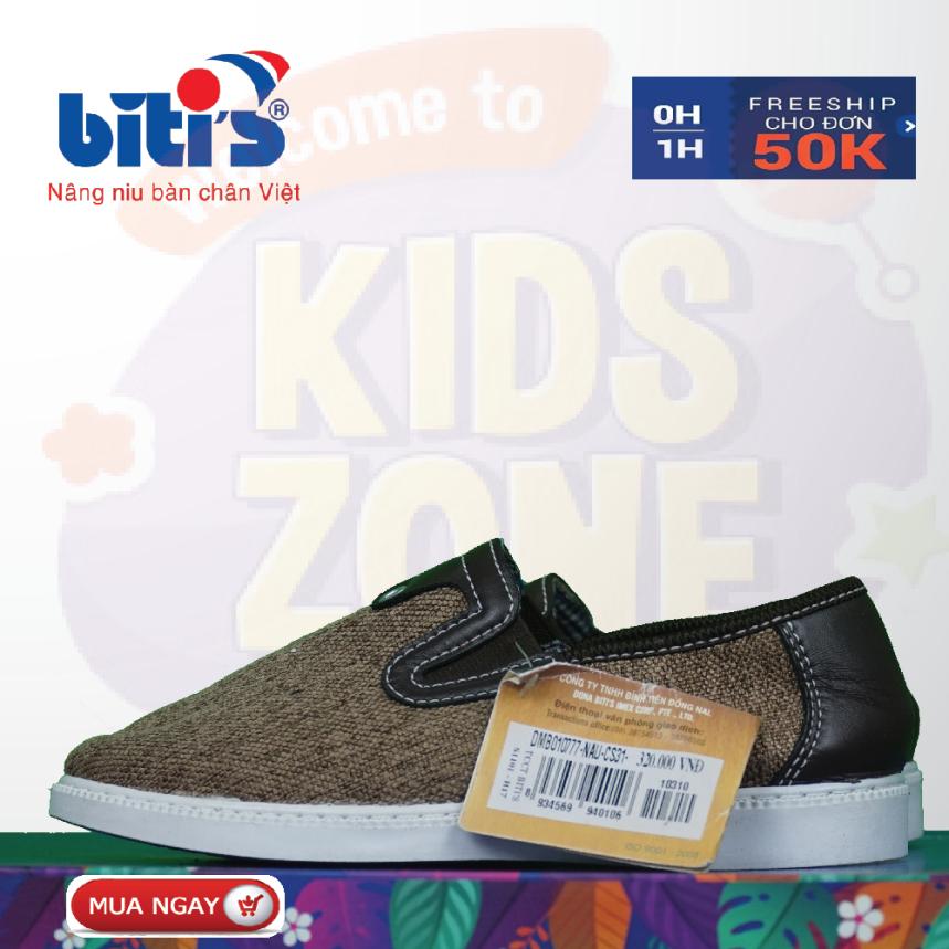 Giày Bitis lười thời trang trẻ em chống hôi chân cho bé, đế cứng bảo vệ chân bé trước mọi vật cản sắc nhọn, bảo hành tại của hàng trên toàn quốc 1 năm. giá rẻ