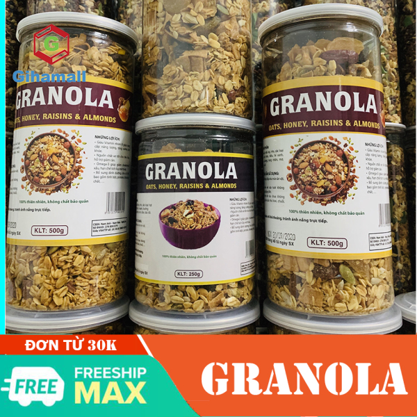 [HÀNG CAO CẤP] Granola Không Đường Gihamall, hỗ trợ ăn kiêng, giảm cân, cung cấp năng lượng, tăng cường sức khoẻ, được làm từ 7 loại hạt, Hộp 250g