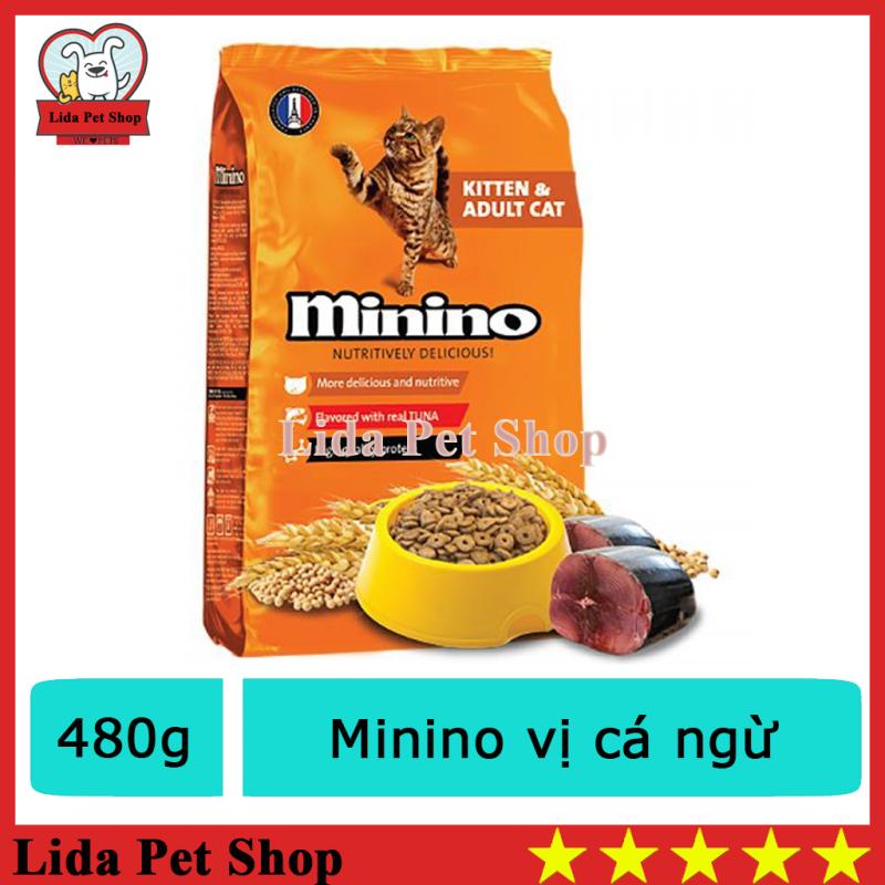 HN- Thức ăn cho mèo Minino 480g Thức ăn vị cá ngừ dành cho mèo mọi lứa tuổi -