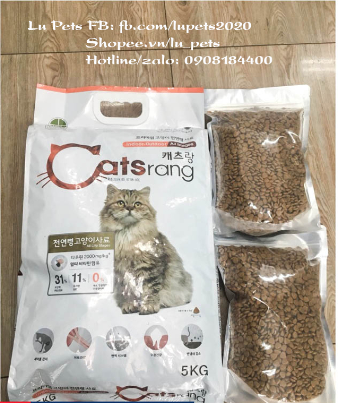 Thức ăn cho Mèo Catsrang túi zip 1kg- Hạt khô cho mèo
