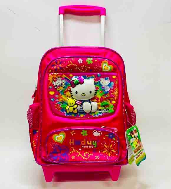 Balô cần kéo đi học cho bé gái cấp 1 hình Kitty - Huduy