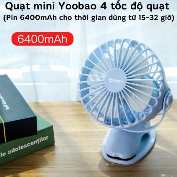 Quạt Tích Điện Yoobao F04 6400Mah, Xoay Góc, 32 Tiếng, Kẹp Xe Đẩy, Để Bàn