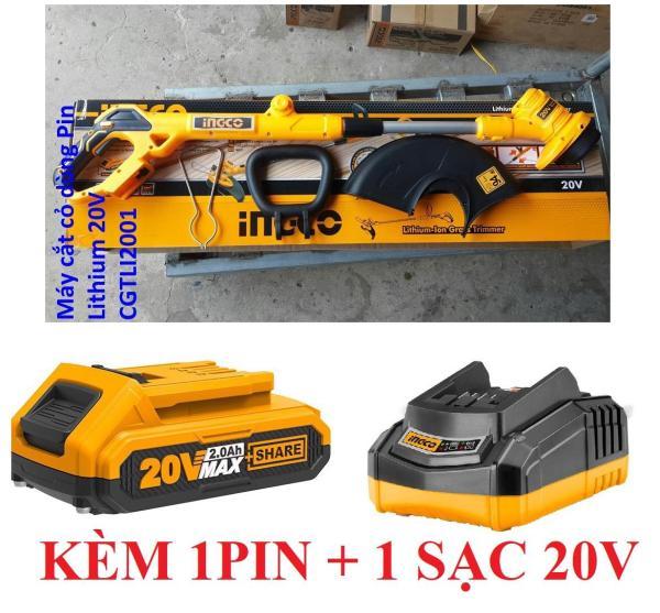 20V Máy cắt cỏ dùng pin INGCO CGTLI2001 ( 1 PIN VÀ SẠC) - Đường kính trục lăn: 1.6mm, Tổng chiều dài cây cần: 5m, Gồm 1pin và sạc Đóng gói trong họp màu