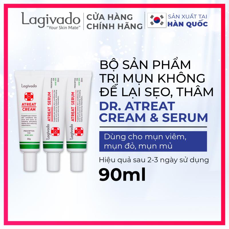 Bộ ba kem dưỡng ngăn ngừa mụn, giảm mụn viêm Lagivado Atreat Cream 30g và serum dưỡng da ngừa thâm, không để lại sẹo 60 ml giá rẻ