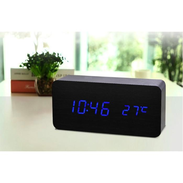 Nơi bán Đồng hồ để bàn gỗ led - 7 mẫu tùy chọn - Đồng hồ báo thức kèm nhiệt kế - VNYDH003