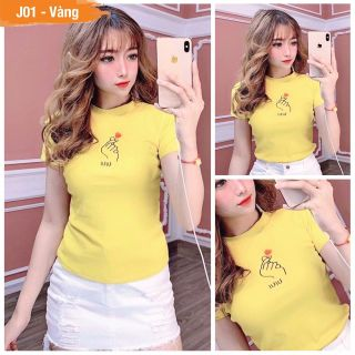 Áo thun Nữ thời trang XBeauty J01 áo phông nữ vải Cotton 100% cao cấp. Có 4 màu (Đen Hồng Trắng Vàng). Áo thun thời trang Nữ cá tính sang trọng thumbnail
