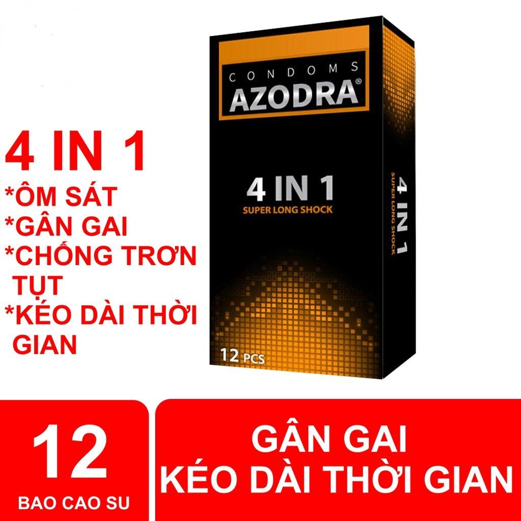 Bao cao su AZODRA gân gai hỗ trợ kéo dài thời gian quan hệ, 12 cái [giao hàng che tên sản phẩm] cao cấp