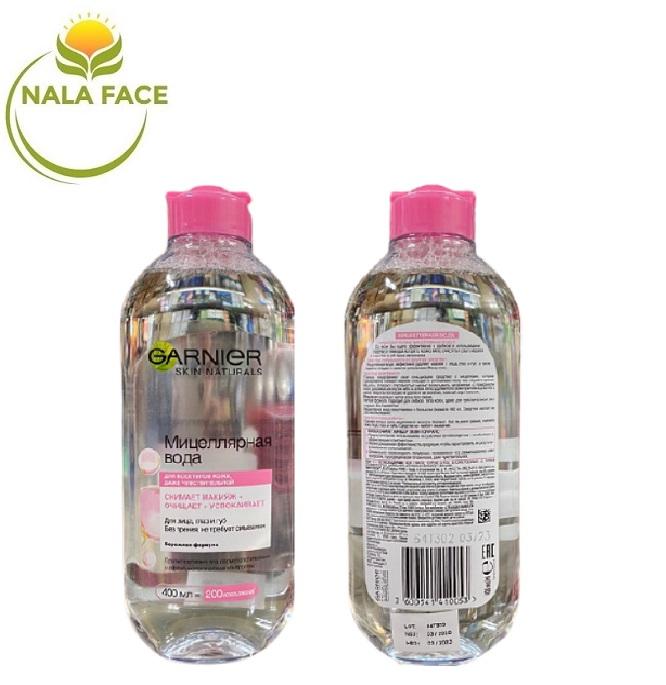 [BẢN NGA] Nước tẩy trang Garnier Micellar 400ml chai hồng cho da nhạy cảm