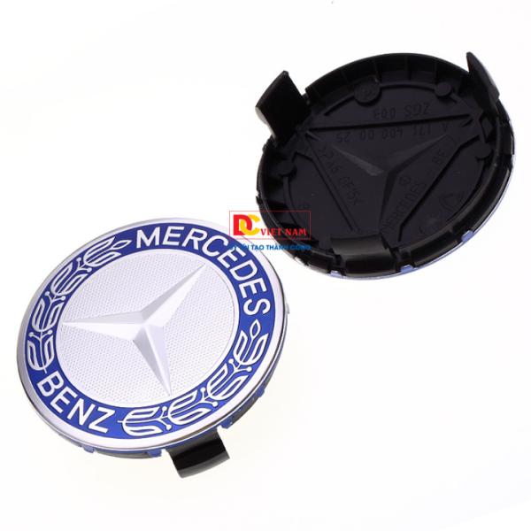 1 chiếc logo chụp mâm, la zang bánh xe ô tô, xe hơi Merce.des Benz MDE75-1 đường kính 75mm  ( Màu bạc viền xanh ánh tím)