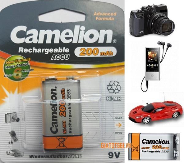 Giá Pin Sạc Camelion 9V 200MAh cho máy ảnh, thiết bị điều khiển (Vàng) BT82