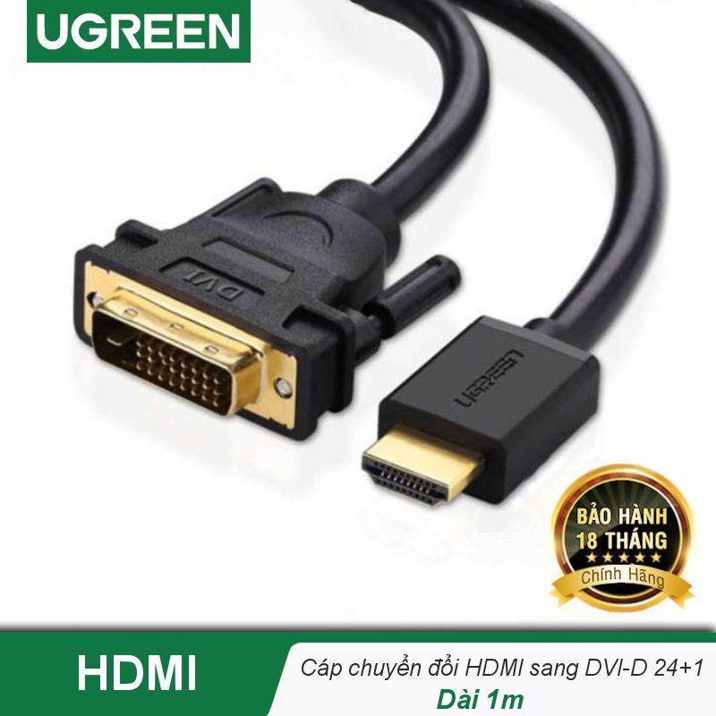 Bảng giá Cáp chuyển đổi HDMI sang DVI-D 24+1, dây tròn và dây dẹt, dài 1-15M UGREEN HD106 - Hãng phân phối chính thức Phong Vũ