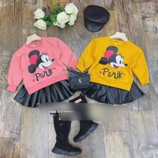 Sét áo micky kèm chân váy da sang chảnh cho bé gái 10-23kg (tặng kèm mũ nồi vải)