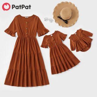 PatPat Váy Liền Thân Màu Trơn Tay Midi Gấu Xòe Vải Bông 100% Cho Gia Đình, Trang Phục Phù Hợp Với Gia Đình-Z