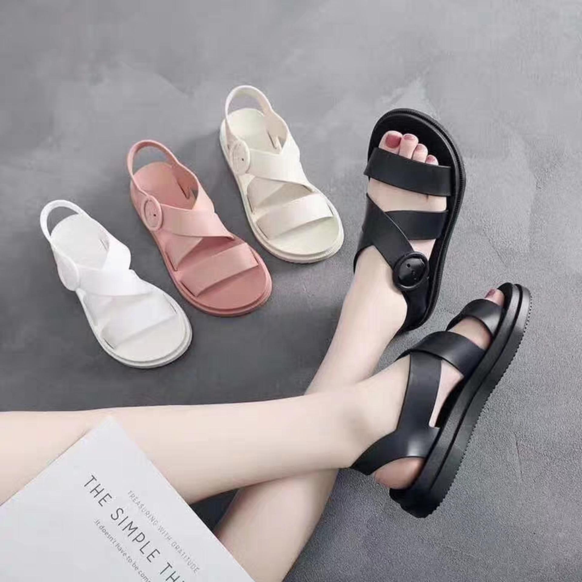 Mã Tiết Kiệm Để Mua Sắm Sandal Nữ Dép Thời Trang Nhựa Dẻo đi Mưa HAPU đen Hồng Kem