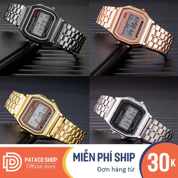Đồng hồ điện tử nam nữ điện tử chống nước W204 full chức năng có đèn, dây hợp kim dễ điều chỉnh dùng đi học hoặc đi chơi, đồng hồ dùng cho cặp đôi