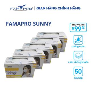 [HÀNG CHÍNH HÃNG NAM ANH] Combo 5 hộp khẩu trang y tế kháng khuẩn 4 lớp Famapro Sunny (50 cái hộp) thumbnail