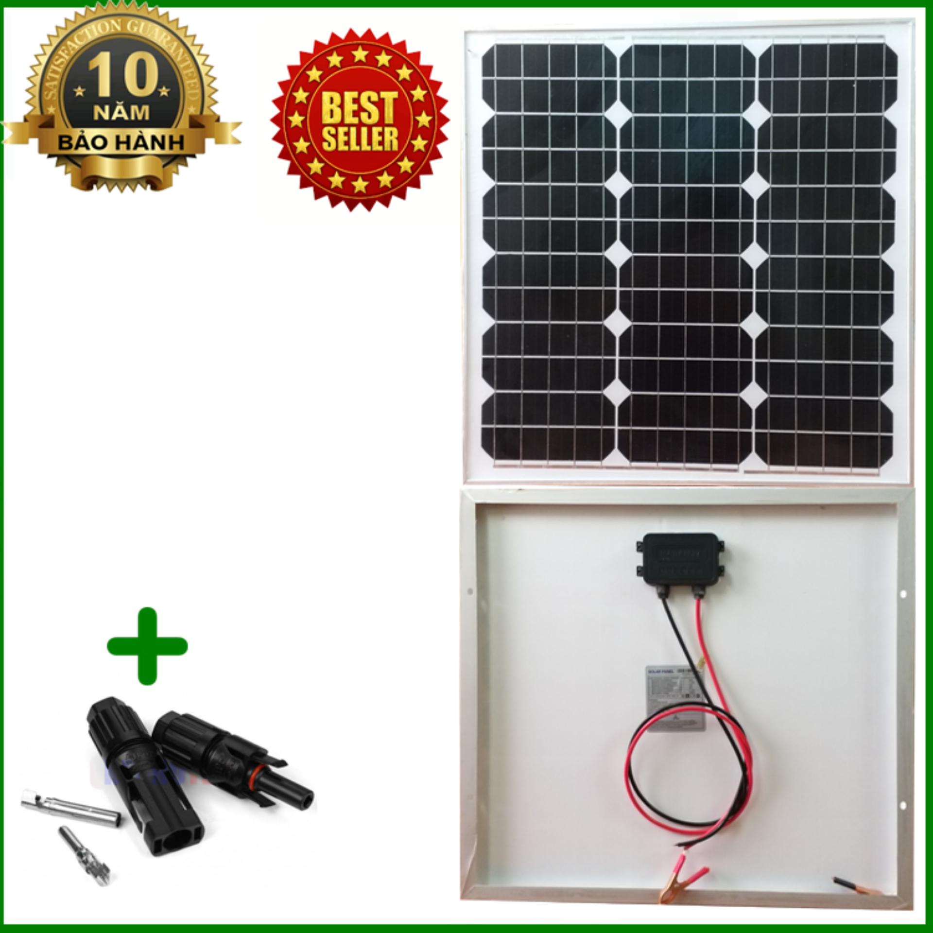 Tấm Pin năng lượng mặt trời đơn tinh thể Mono 30W tặng kèm jack MC4