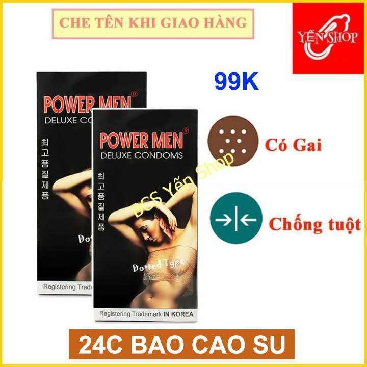 (24BCS) Bộ 2 hộp bao cao su gai Powermen Dotted hộp 12 chiếc