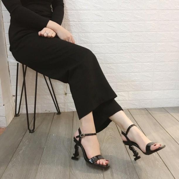 Giày xăng đan cao gót 9p quai mảnh gót chữ S hottrend giá rẻ