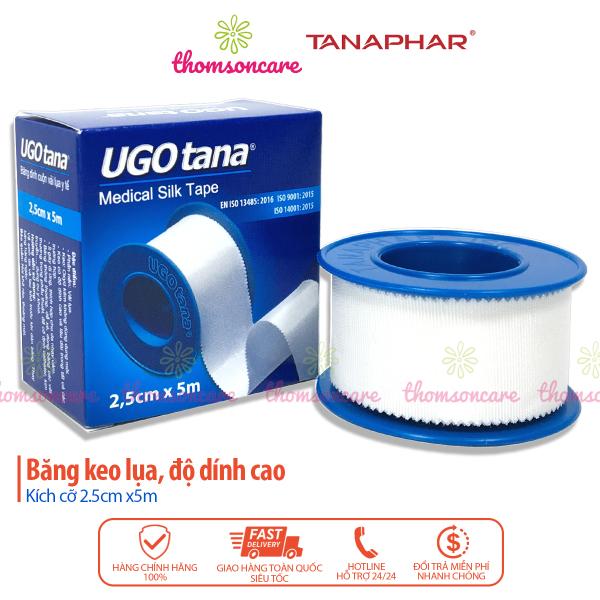 Băng dính vải y tế Ugotana - kích thước 2.5cm x 5m - băng vết thương, sơ cứu, băng keo mềm độ dính cao của Tanaphar