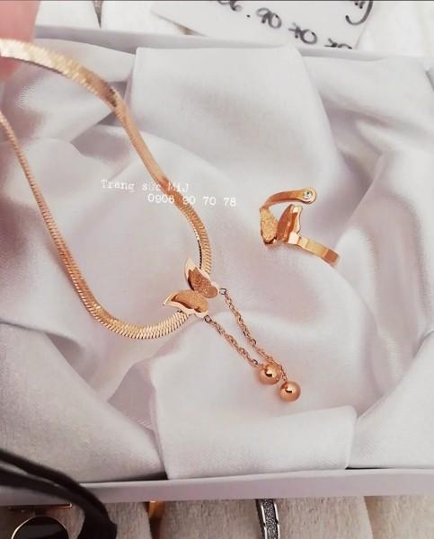 Dây chuyền + Nhẫn titan bướm cát vàng hồng