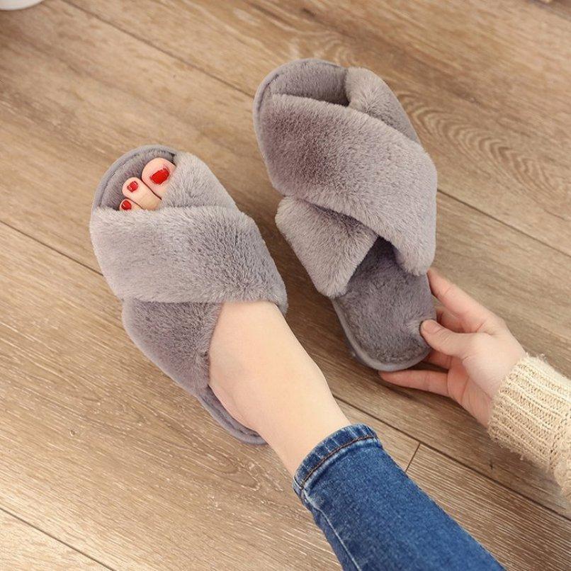 Dép lông mang trong nhà hình chéo êm chân giá rẻ