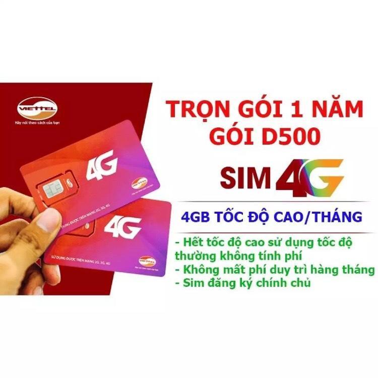 Giá SIM 4G Viettel D500 GIẢM GIÁ 50% Tặng 4GB Data Tốc Độ Cao Mỗi Tháng - Trọn Gói 1 Năm Sử Dụng