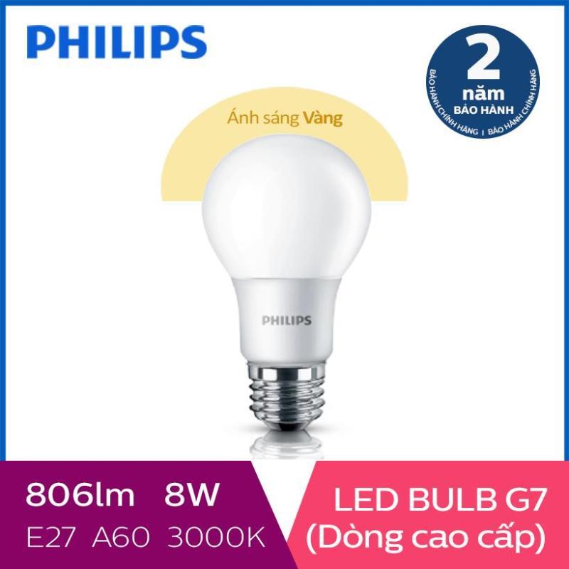 Bóng đèn Philips LED cao cấp siêu sáng tiết kiệm điện Gen7 8W 3000K E27 A60 - Ánh sáng vàng