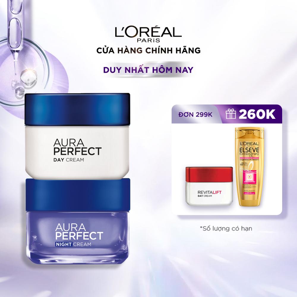 Bộ kem dưỡng da trắng mượt đều màu ngày và đêm L'Oréal Paris White Perfect 50ml