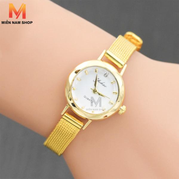 Nơi bán Đồng hồ nữ YUHAO mặt vát 3D dây thép lụa xinh xắn ( vàng)