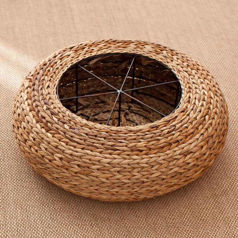 Handmade Straw Papyrus Japanese Style throw pillow Bay Window throw pillow Floor throw pillow Tatami Tea Room Tea Ceremony Circle Thick throw pillow