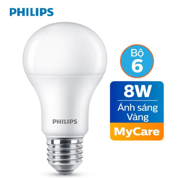 Bộ 6 Bóng đèn Philips LED MyCare 8W 3000K E27 A60 - Ánh sáng vàng