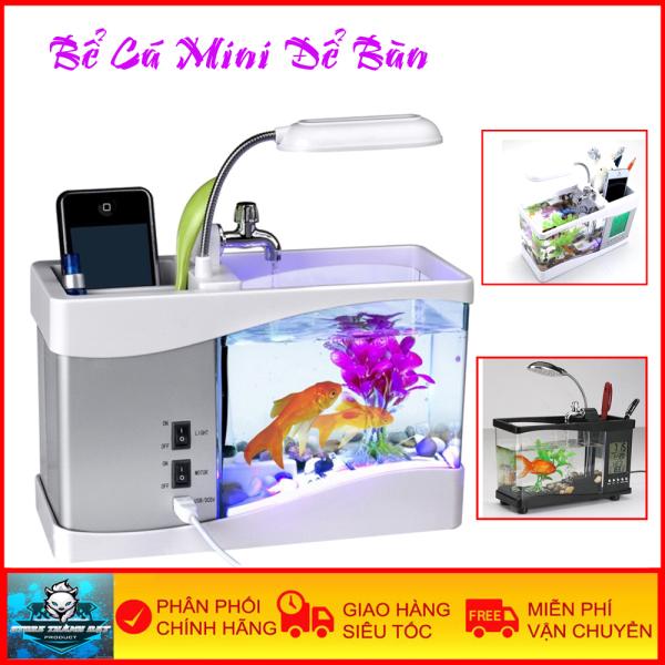 Bể Cá Mini Để Bàn Có Đồng Hồ Nhiệt Độ Máy Bơm Xịn Xò Tặng Kèm Phụ Kiện Thủy Sinh - Bảo Hành Toàn Quốc