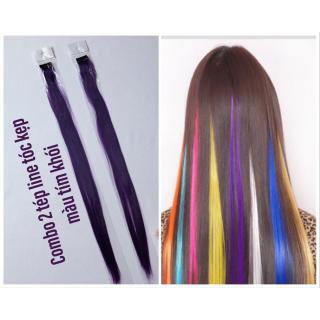 Combo 2 tép line tóc màu tím khói- dài 50-60cm mỗi tép nặng 3d- mua 5 line tặng 1 line thumbnail