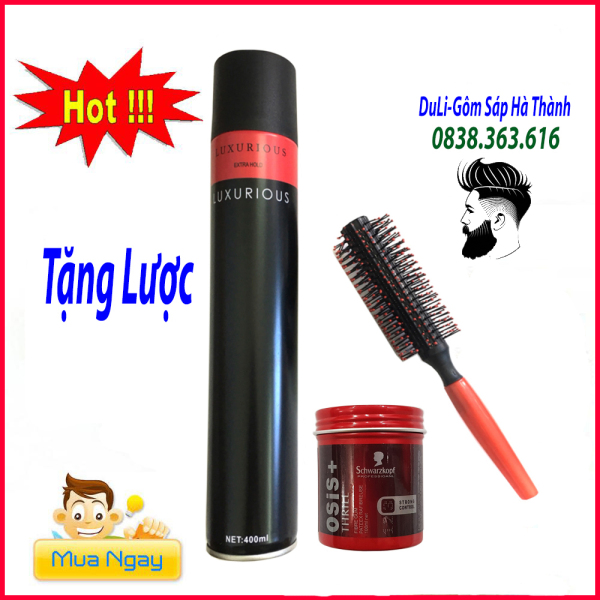 Sáp vuốt tóc Osis Thrill CHÍNH HÃNG+ GÔM XỊT TÓC luxurious 420ml  giữ nếp tặng lược/ wax vuốt tóc/ keo vuốt tóc/ sap vuot toc/ wax/combo giá rẻ