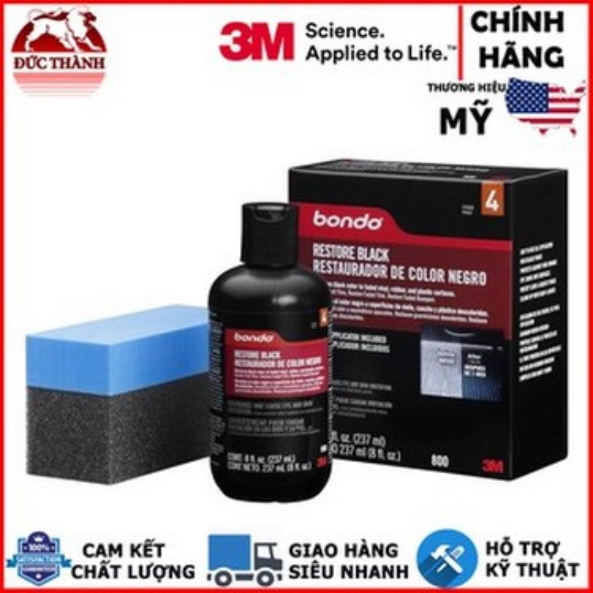 Dung Dịch Phục Hồi Nhựa đen - 3M Bondo Restore Black Restauradoor De Color Negro PN0800 237ml (Đen) Có Giá Tốt
