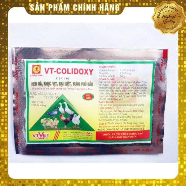 Sản phẩm thuôc thú y VT-COLIDOXY (50g) phòng và trừ hen gà, khẹc vịt, bại liệt, sưng phù đầu, tiêu chảy ở: gà, vịt, trâu, bò, lợn, ngan