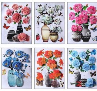 Decal dán tường bình hoa 3D, tranh hình bông dán nổi, decal trang trí Tết nhiều màu lựa chọn thumbnail