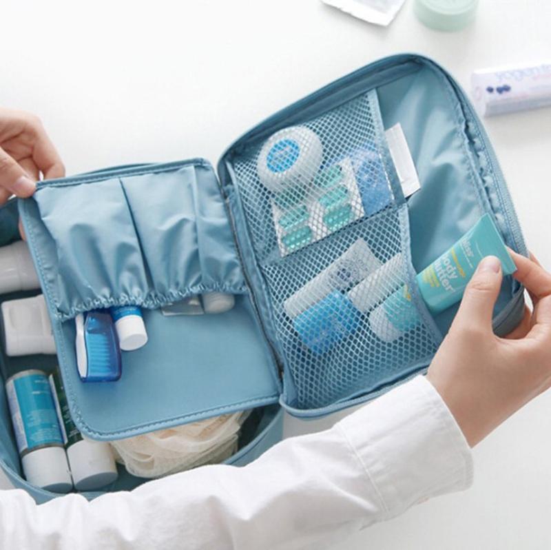 Túi Đựng Mỹ Phẩm Chống Thấm TRAVEL Hộp Trơn+ tặng gương cầm tay mini chính hãng