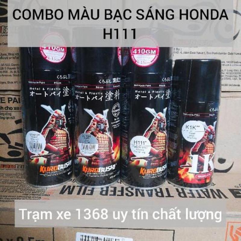 SƠN SAMURAI COMBO SƠN MÀU BẠC SÁNG HONDA H111 PHỦ 1K GỒM 4 CHAI