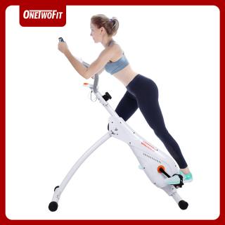 ONETWOFIT Xe đạp tập thể dục thẳng đứng, Xe đạp đạp trong nhà Xe đạp tập thể dục gấp Xe đạp tập tĩnh tại chỗ với 3 mức độ dốc được điều chỉnh và 8 mức độ kháng từ có thể điều chỉnh OT121G thumbnail