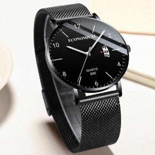 Đồng hồ nam ECONOMICXI mẫu HOT dây thép lụa đen chạy lịch ngày cao cấp (Full hộp) EC3K09 thumbnail