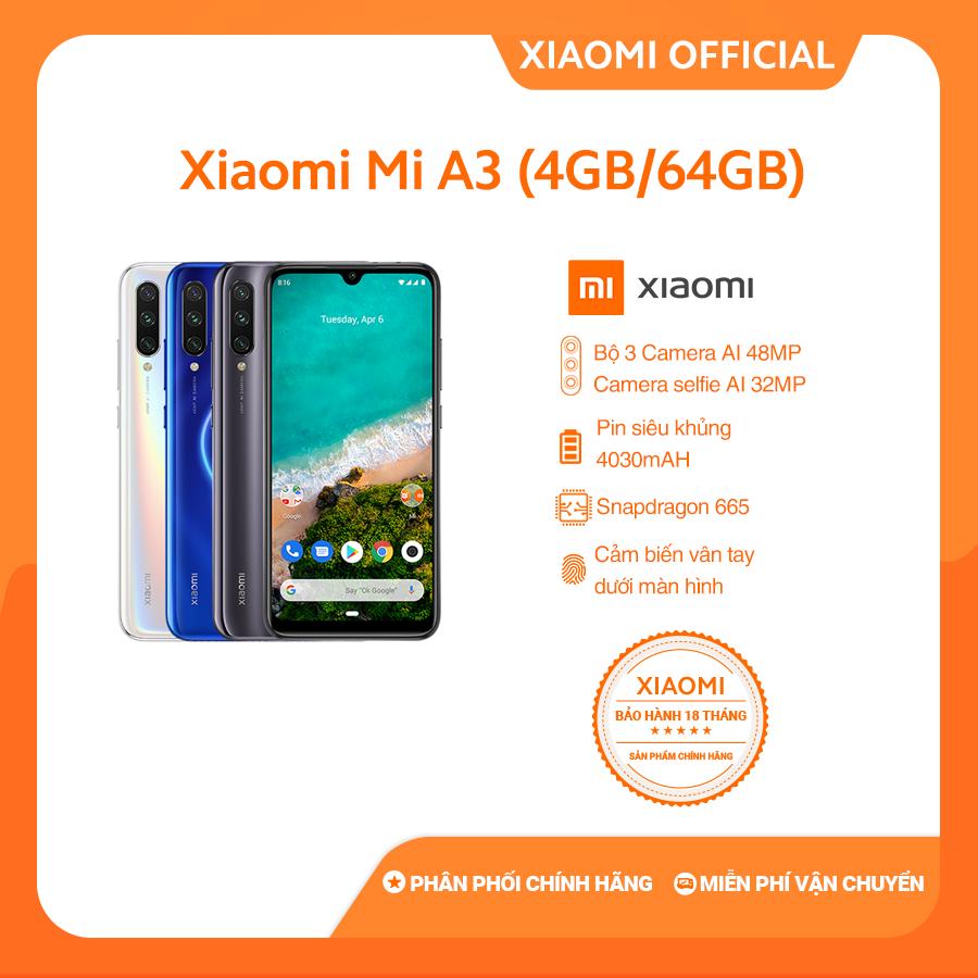 Xiaomi official Điện Thoại Mi A3, (4GB+64GB) Trắng / xám / xanh_ Hàng chính hãng, Bảo hành điện tử 18 tháng