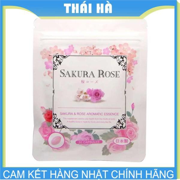 [HCM]Viên Uống Thơm Cơ Thể Sakura Rose 30 Viên ((TINH DẦU HOA HỒNG BULGARI ) Nhật Bản xua tan mùi cơ thể