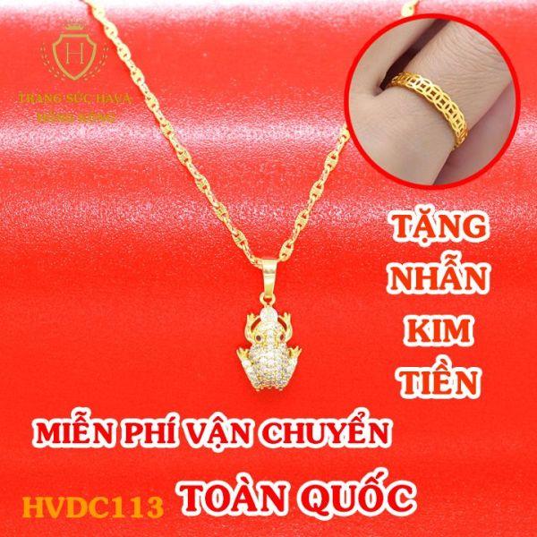 Dây Chuyền Nữ, Vòng Cổ Nữ Mặt Cóc Đính Đá Phong Cách, Titan Xi Mạ Vàng Non 10k, 18k, 24k Thật Cao Cấp (Không Bị Đen) - Trang Sức Hava Hong Kong
