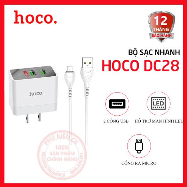 Bộ sạc nhanh Hoco DC28 2 cổng USB 5.0A màn hình led kèm cáp Micro USB dài 1m
