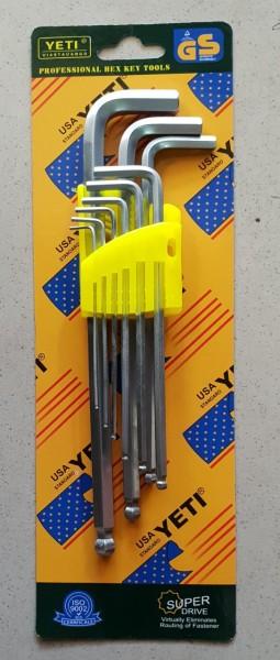 Bộ Lục Giác 9 Đầu Bi Lớn (Hàng Chất Lượng Cao) được gia công từ chất liệu thép CR-V6150, thân bọc nhựa, độ bền cao, khả năng chống ăn mòn tốt TDT38